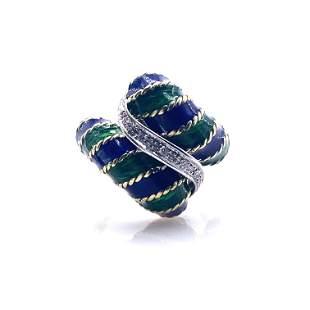 TOLIRO Enamel, Diamonds & 18k Gold Ring