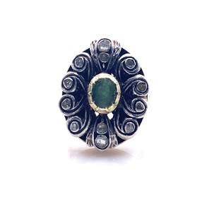 Georgian Crystal, Silver & 18k Gold Ring