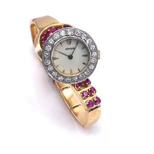 Retro Rubies, Diamonds 18k Gold Wristwatch