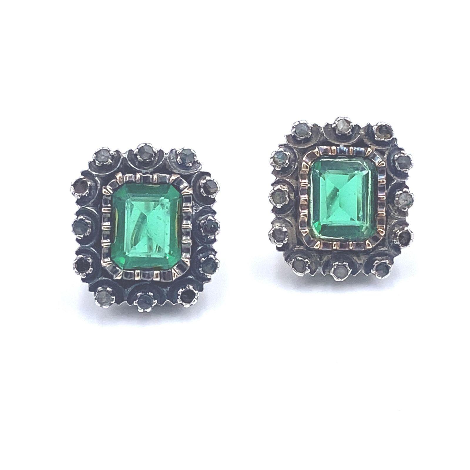 Victorian Garnets Low Gold & Silver Earrings