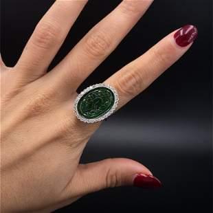 Jade Diamonds Platinum Ring