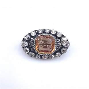GIA. IMPERIAL Topaz & Diamonds Antique Brooch