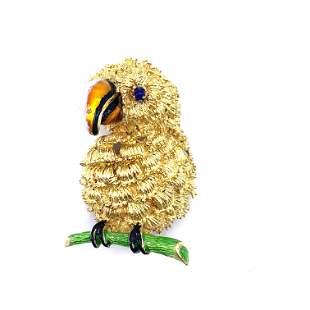 LUCIEN Enamel 18k Gold Parrot Brooch