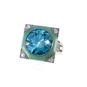 Unique Art Deco Zircon, Jade, Diamonds Ring GIA CERTIF