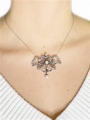 Victorian Diamonds, Pearl & Platinum Pendant