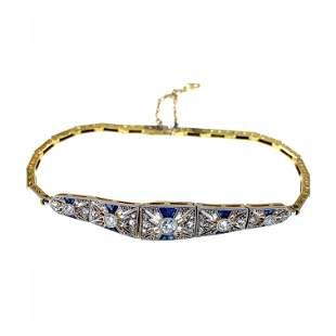 Art Deco Sapphires, Diamonds, 18k Gold & Platinum