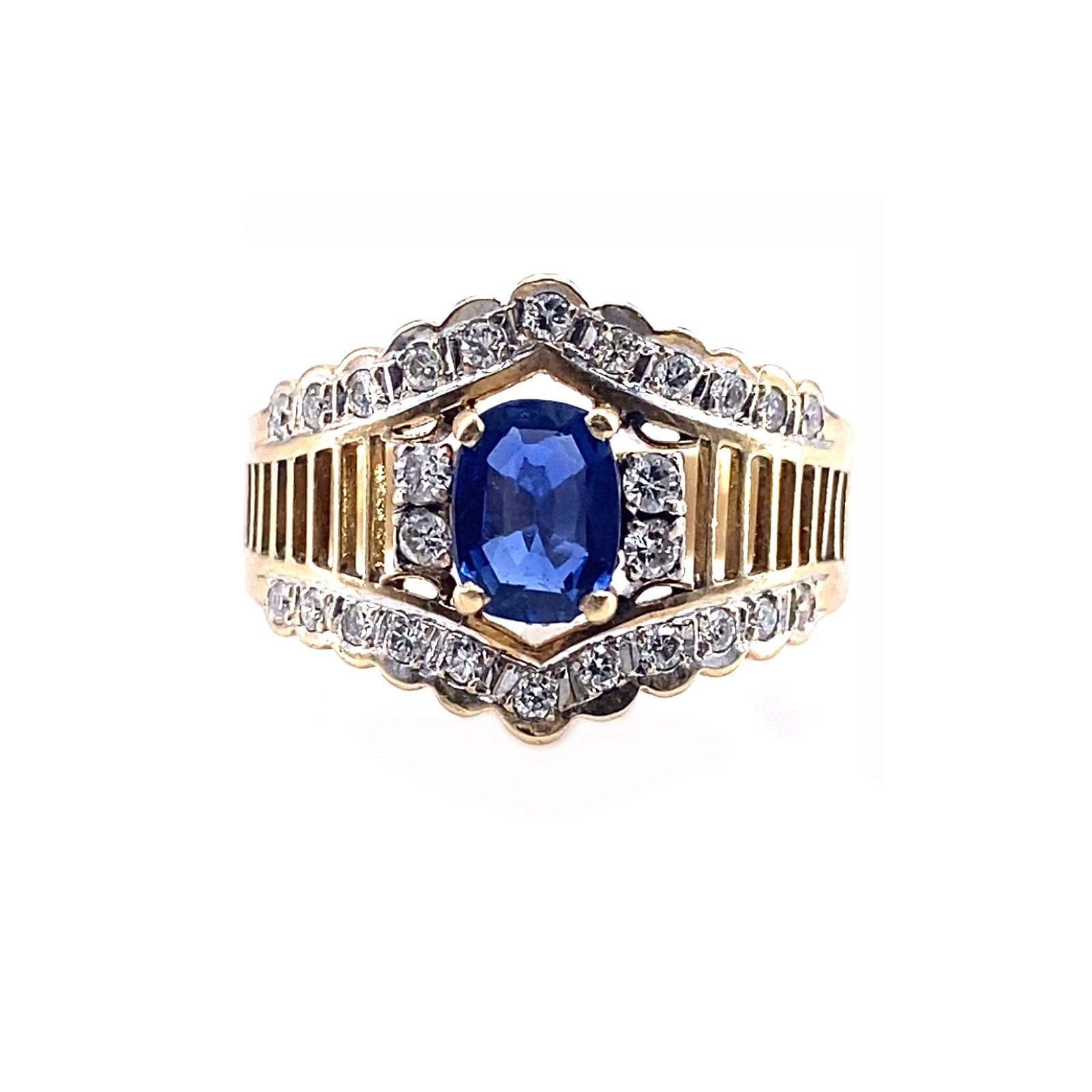 Diamonds, Sapphire & 18k Gold Retro Ring