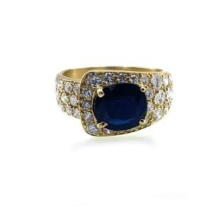 Diamonds & Sapphire 18k Gold Ring