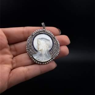 European Diamonds, Sapphires, Platinum Carving Nacre