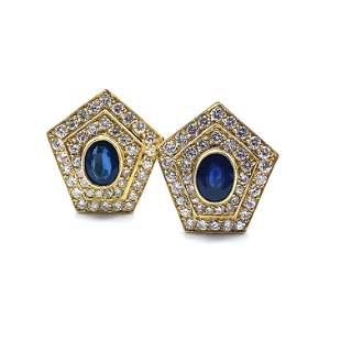 Diamonds & Sapphires 18k Gold Clip Earrings