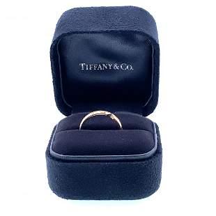 TIFFANY & CO. 18k Gold Diamond Nesting Narrow Band Ring