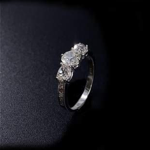 Three Old European Cut Diamonds Ring