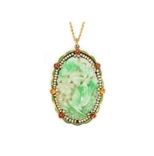 Art deco Jade, Enamel, Pearls & 14k Pendant