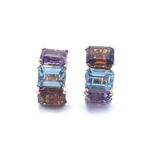 Topaz, Aquamarine & Amethyst 18k Gold Earrings