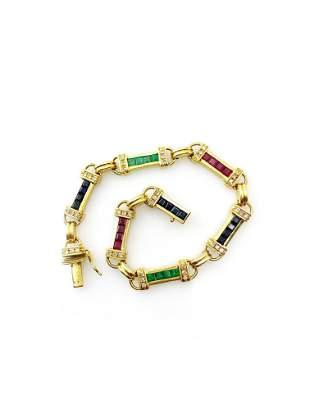 Nathan Sapphires, Rubies, Emeralds, Diamonds 18k Gold