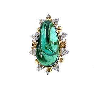 Green Tourmaline, diamonds & 18k Gold Ring