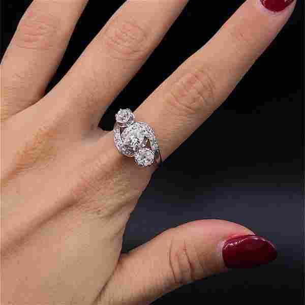 Three Diamonds Antique Platinum Ring
