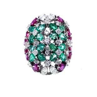 18k Gold, Emeralds, Rubies & Diamonds Ring