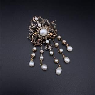 Edwardian Diamonds, Pearls & 15k Gold Pendant / Brooch