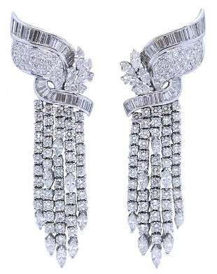 Art deco Platinum & Diamonds Earrings 15.11Ctw