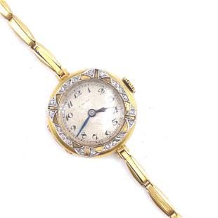 1930 Diamonds & 18k Gold Ladies Wristwatch
