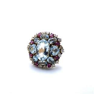 Retro Aquamarines, Diamonds, Rubies & 18k Gold Ring