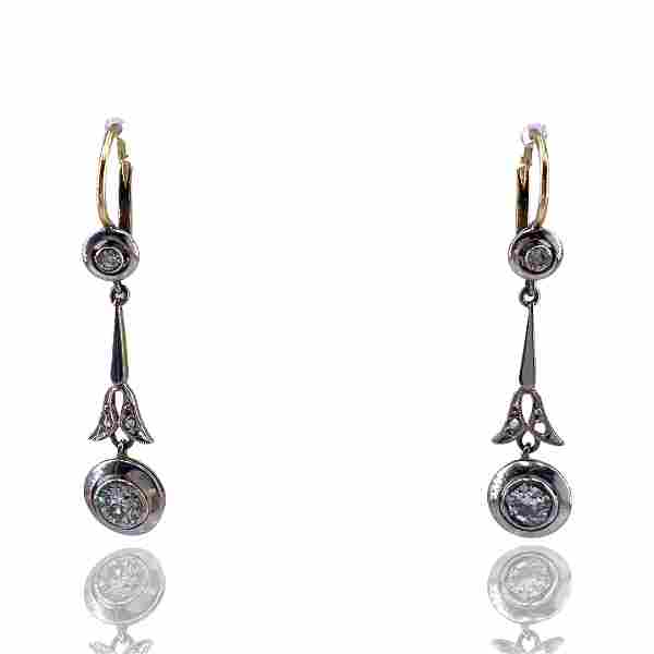 Antique Diamonds Platinum 18k Gold Drop Earrings