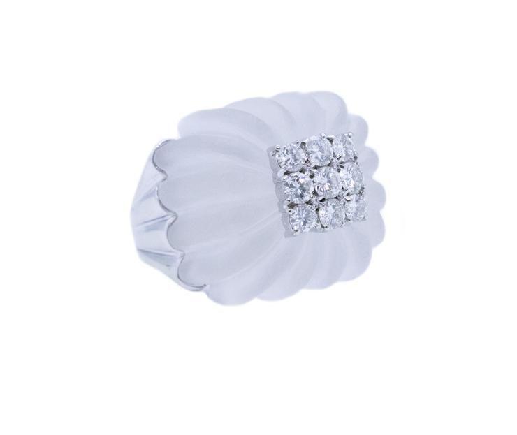White Rock Crystal, Diamonds & 18k Cocktail Ring