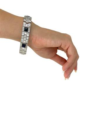 Art Deco Platinum,18k Diamonds & Sapphires Bracelet