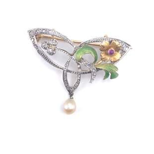 Art Nouveau Enamel, Diamonds, Pearl 18k Gold Brooch