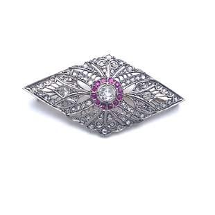 Art Deco Diamonds, Rubies, Platinum & 18k Gold Plaque
