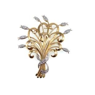 Antique Diamonds 18k gold Platinum Flower Bouquet