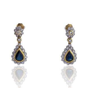Rosetta Sapphires Diamonds 18k Gold Earrings