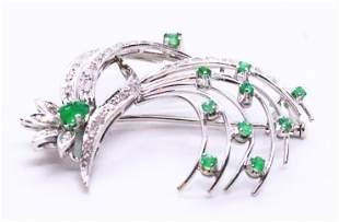 Mid-century Emeralds & Diamonds 18k Gold Brooch