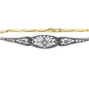 Art Deco Diamonds, 18k Gold & Platinum Bracelet