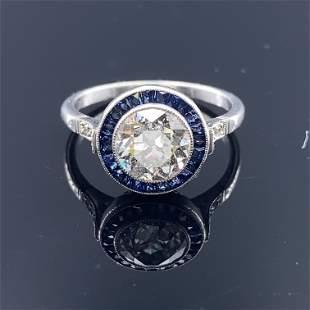 Art Deco Inspired Diamond Sapphire Target Ring