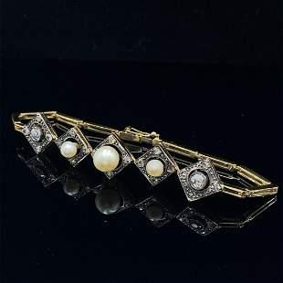 Art Deco Diamonds, Pearls 18k Gold & Platinum Bracelet