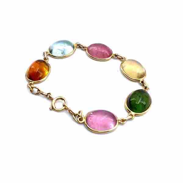 Multicolor Gemstones 14k gold Bracelet