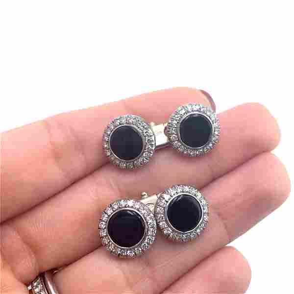 Diamonds, Onyx 18k Gold Doble Cufflinks