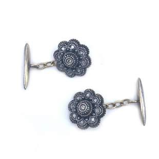 Victorian Diamonds silver & 18k Gold Cufflinks
