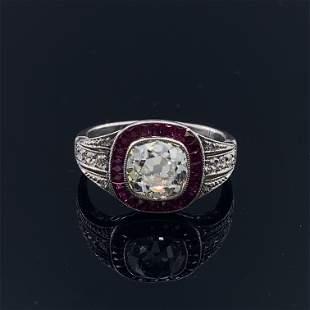 Art Deco Inspired Diamond Rubies Target Ring