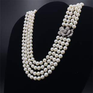 Fresh water Pearls Necklace, 18k Gold & Diamond clasp