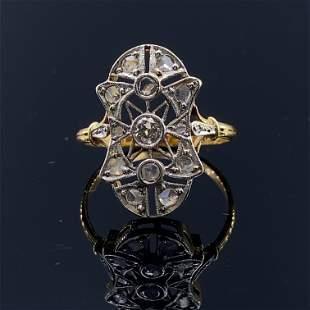 Art Deco Diamonds 18K Gold & Platinum Ring