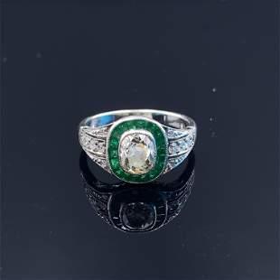 Art Deco Inspired Diamond Emeralds Target Ring