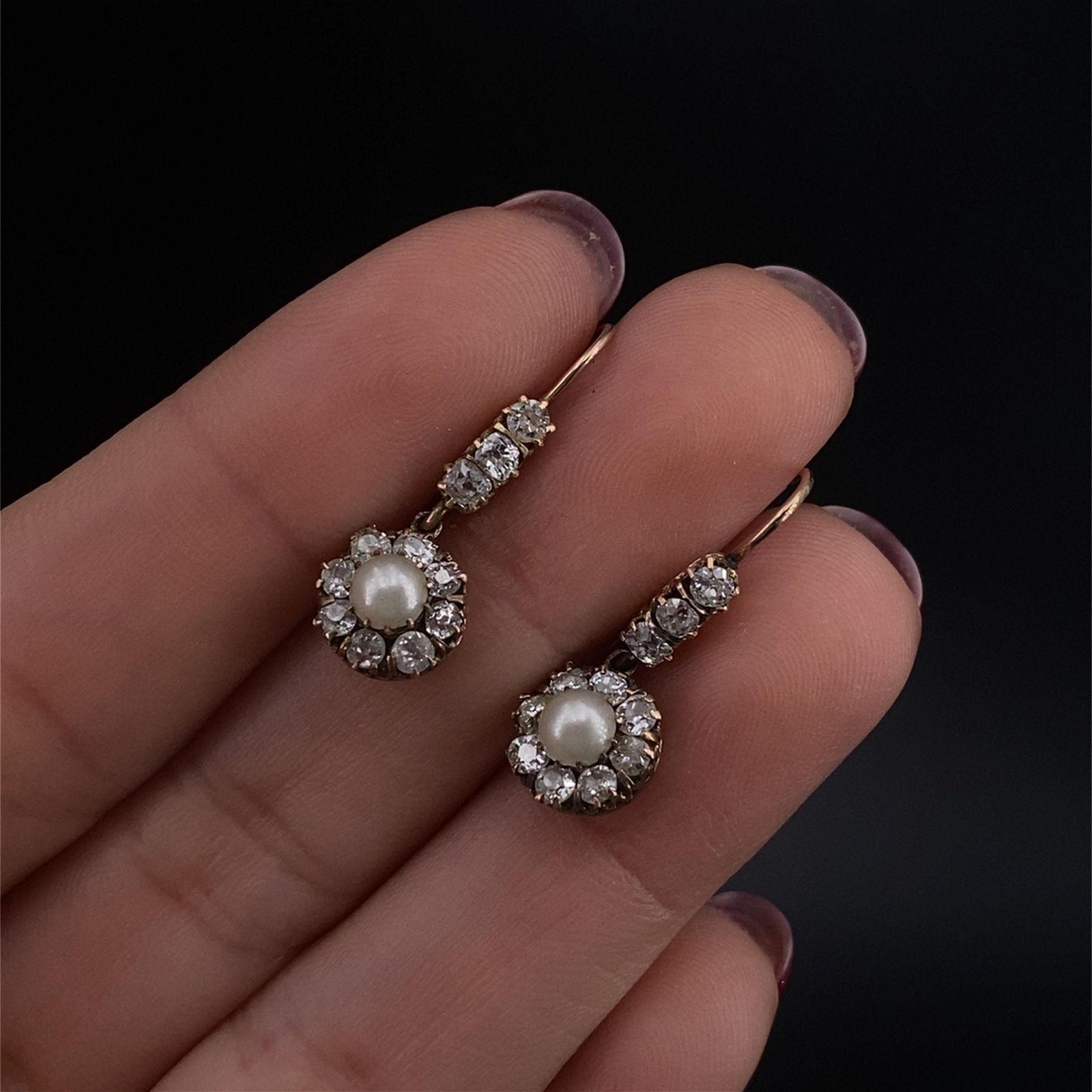 Victorian 18k Gold Pearl & Diamonds Rosetta Earring