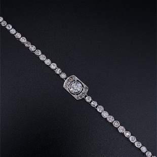 Art Deco Tennis Diamonds & 18k Gold Bracelet