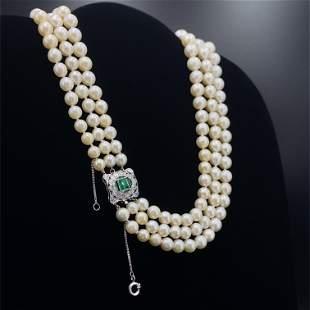 Fresh water Pearls Necklace Diamonds & Emerald