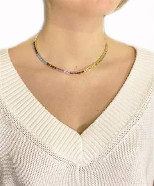 Multicolor Natural Gemstones 18k Gold Necklace