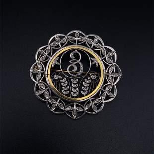 Art Nouveau Diamonds, Platinum & 18k Gold Brooch