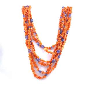 Italian Coral, Sapphires & 18k Gold Necklace